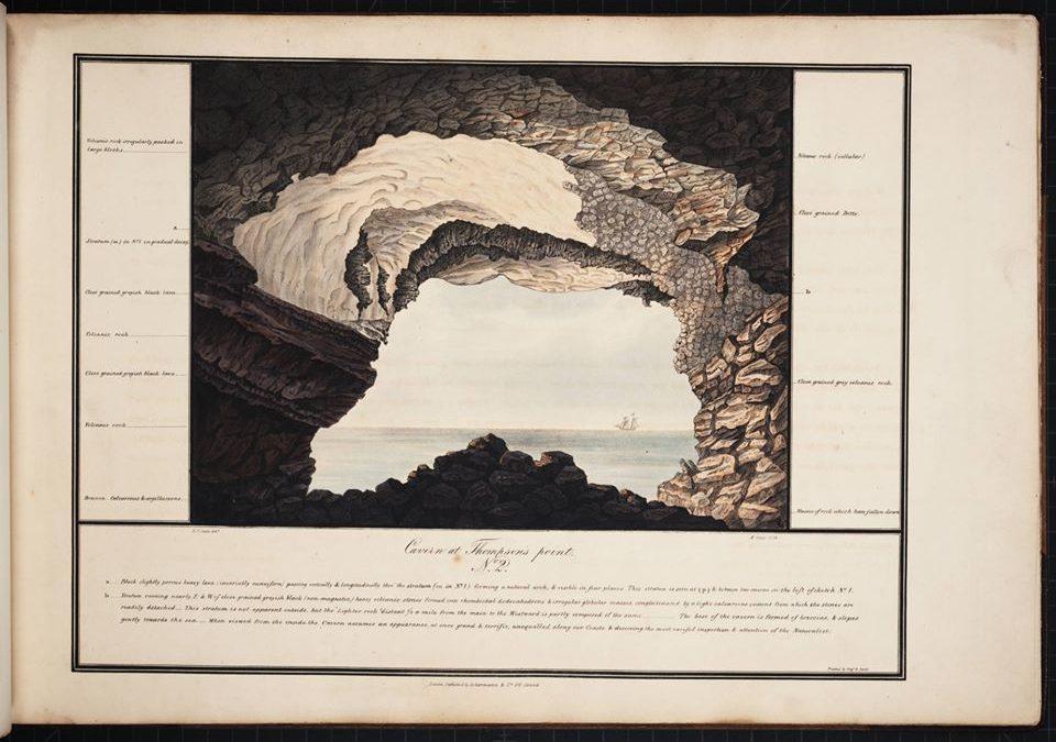 vue du large depuis la grotte de Thompson's Hill par Robert Seale, 1834.