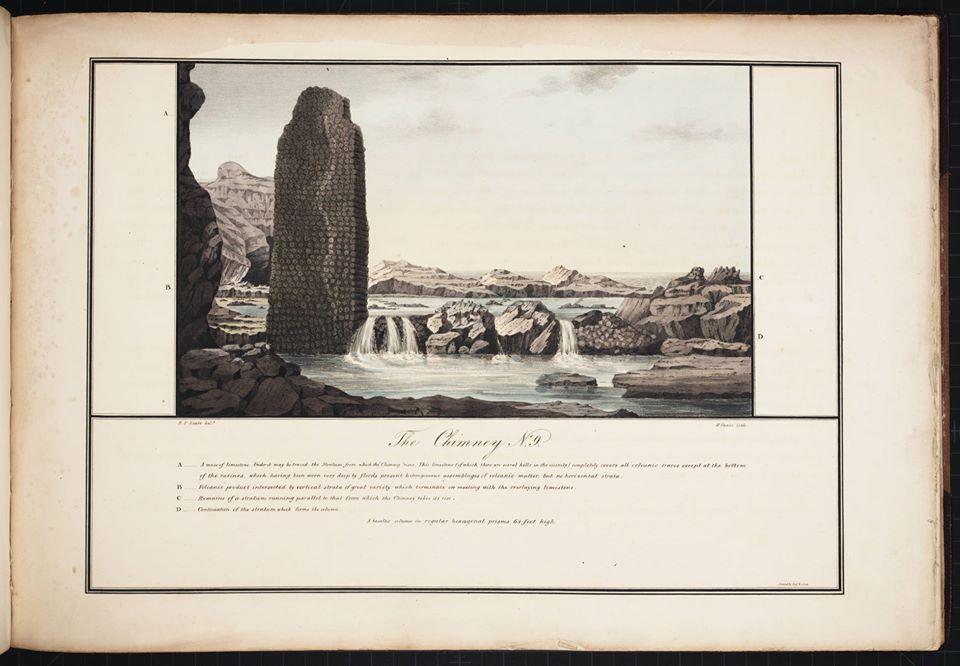 vue de la côte sud de Sainte-Hélène où se trouvent les extraordinaires piscines naturelles. Dessin par Robert Seale, 1834