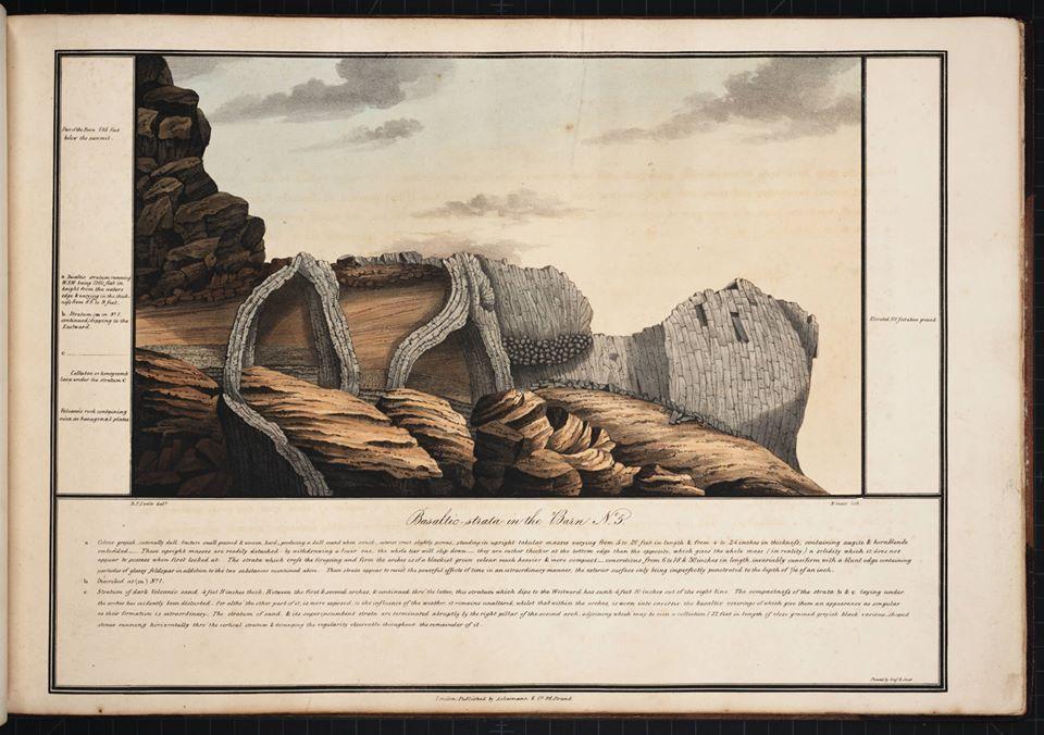 The Barn, roc noir qui domine Longwood et le bois de gommier mentionné, dessiné par Robert Seale en 1834