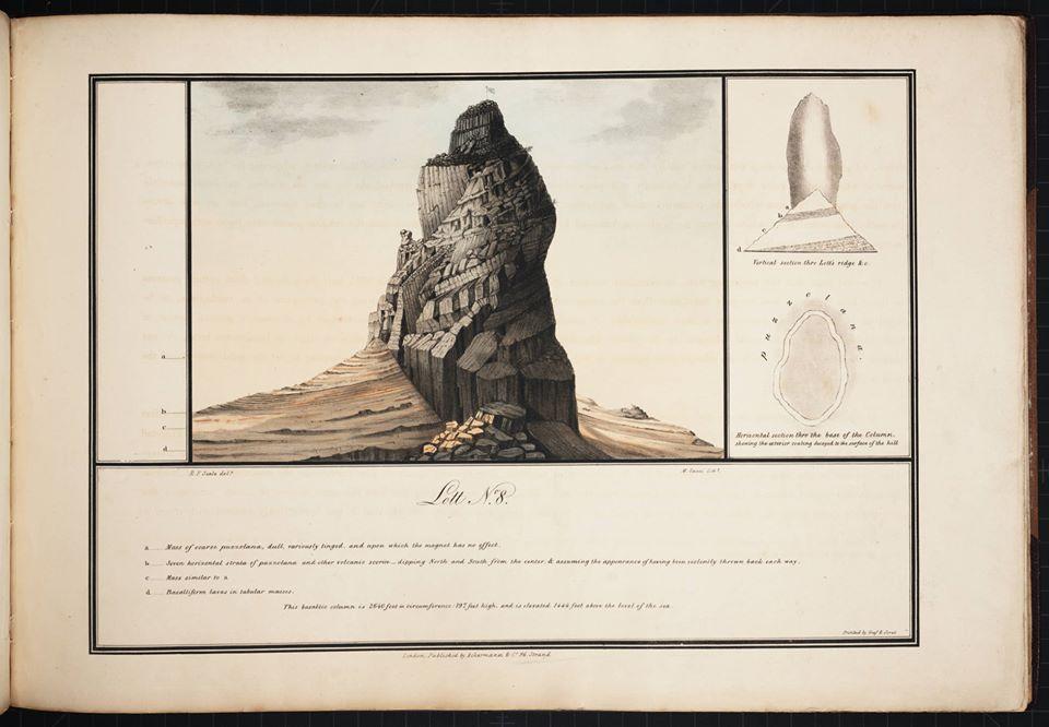 dessins des montagnes basaltiques du sud de l'île par Robert Seale, 1834.