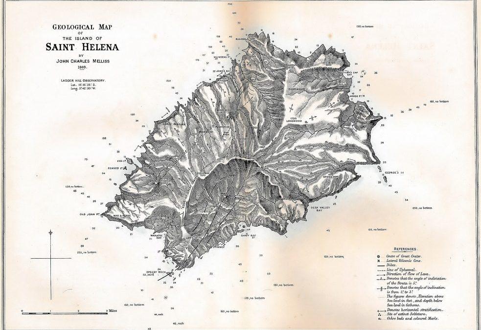 Carte de Sainte-Hélène dressée par Melliss, 1869.