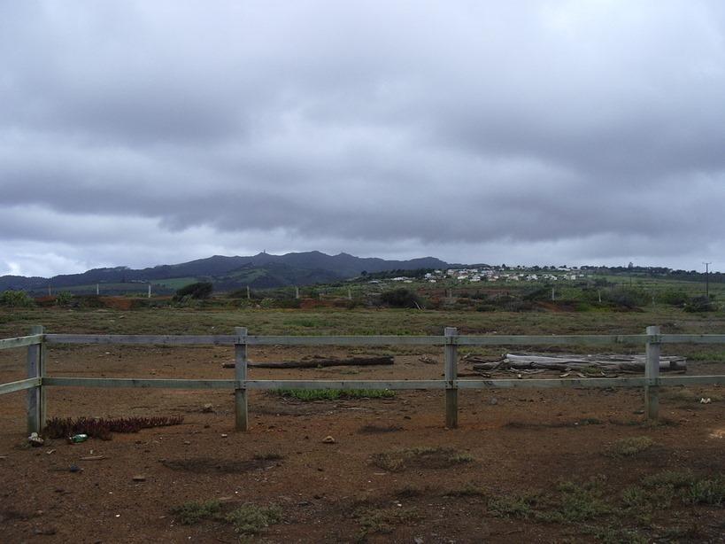Photographie du plateau de Longwood avec la chaîne des pics en arrière-plan