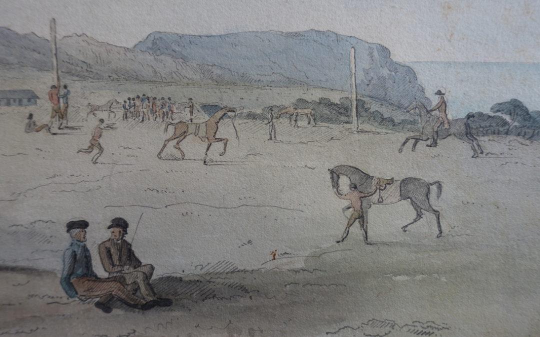 Course de chevaux sur le plateau de Longwood par Denzil Ibbetson, 1821 (Coll. Edward Baldwin)
