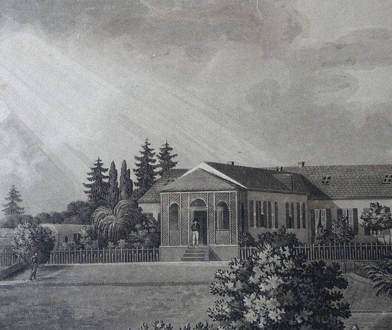 Représentation de Napoléon au-devant de la maison de Longwood par Louis Marchand.